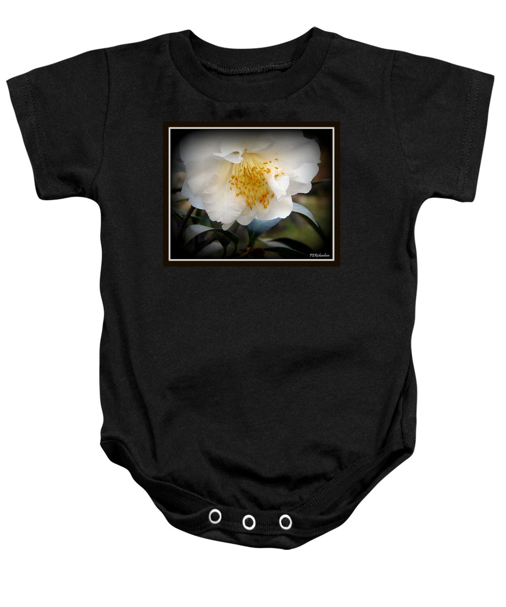 Caladium Baby Onesie featuring the photograph Curtsy by Priscilla Richardson