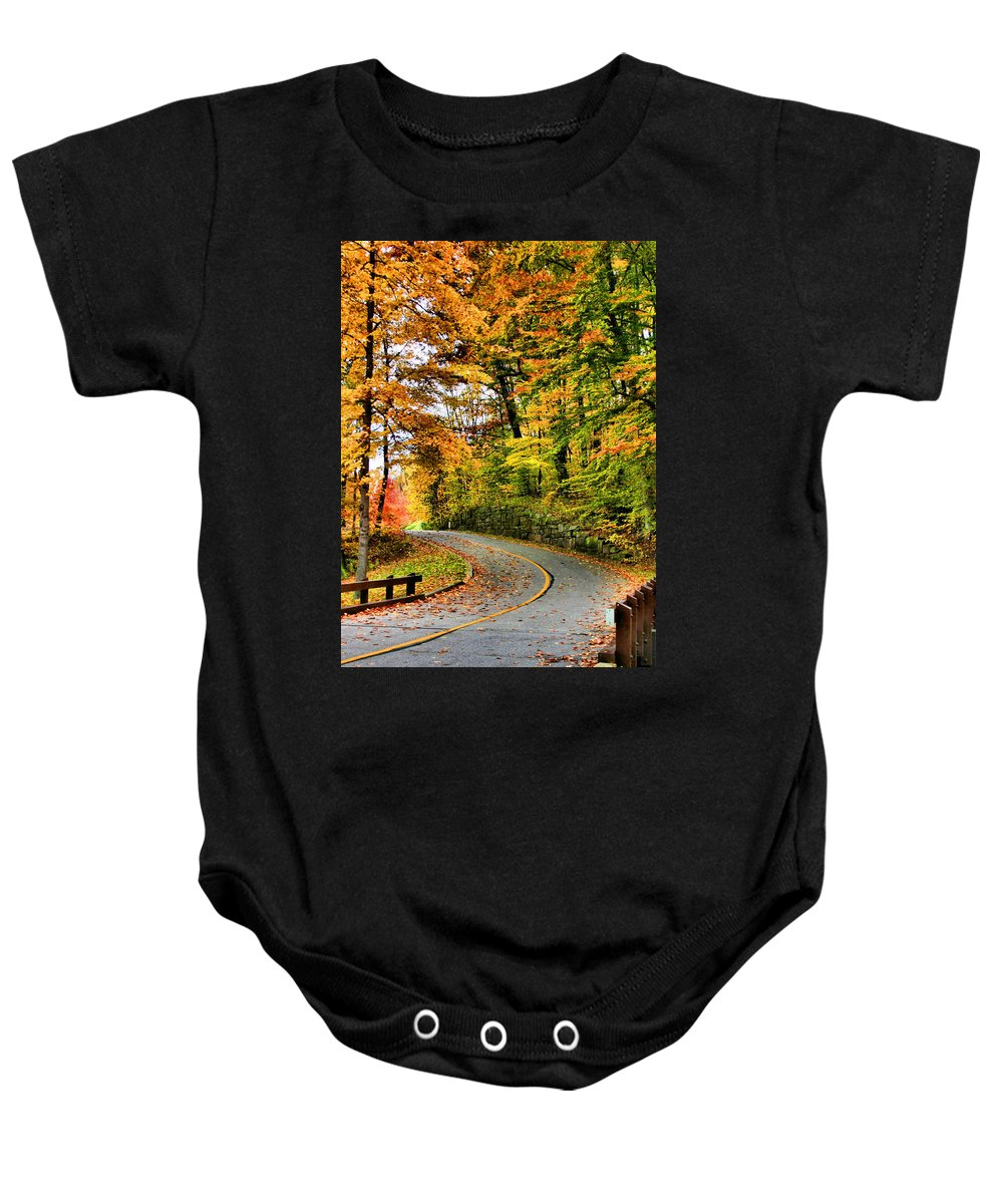 Monroe Falls State Park Baby Onesie featuring the photograph Curve In The Road by Kristin Elmquist