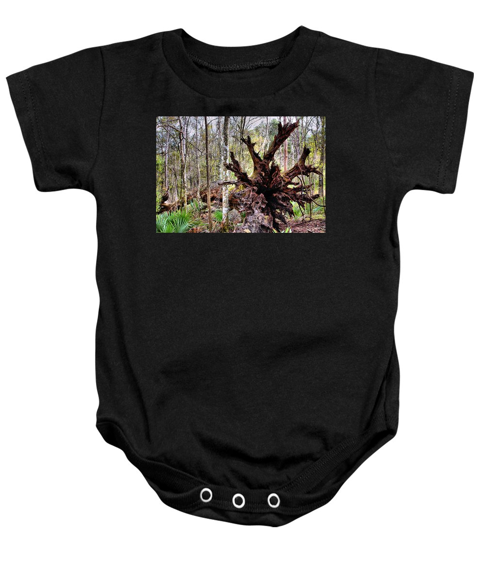 Cypress Baby Onesie featuring the photograph Cypress Roots by Kristin Elmquist