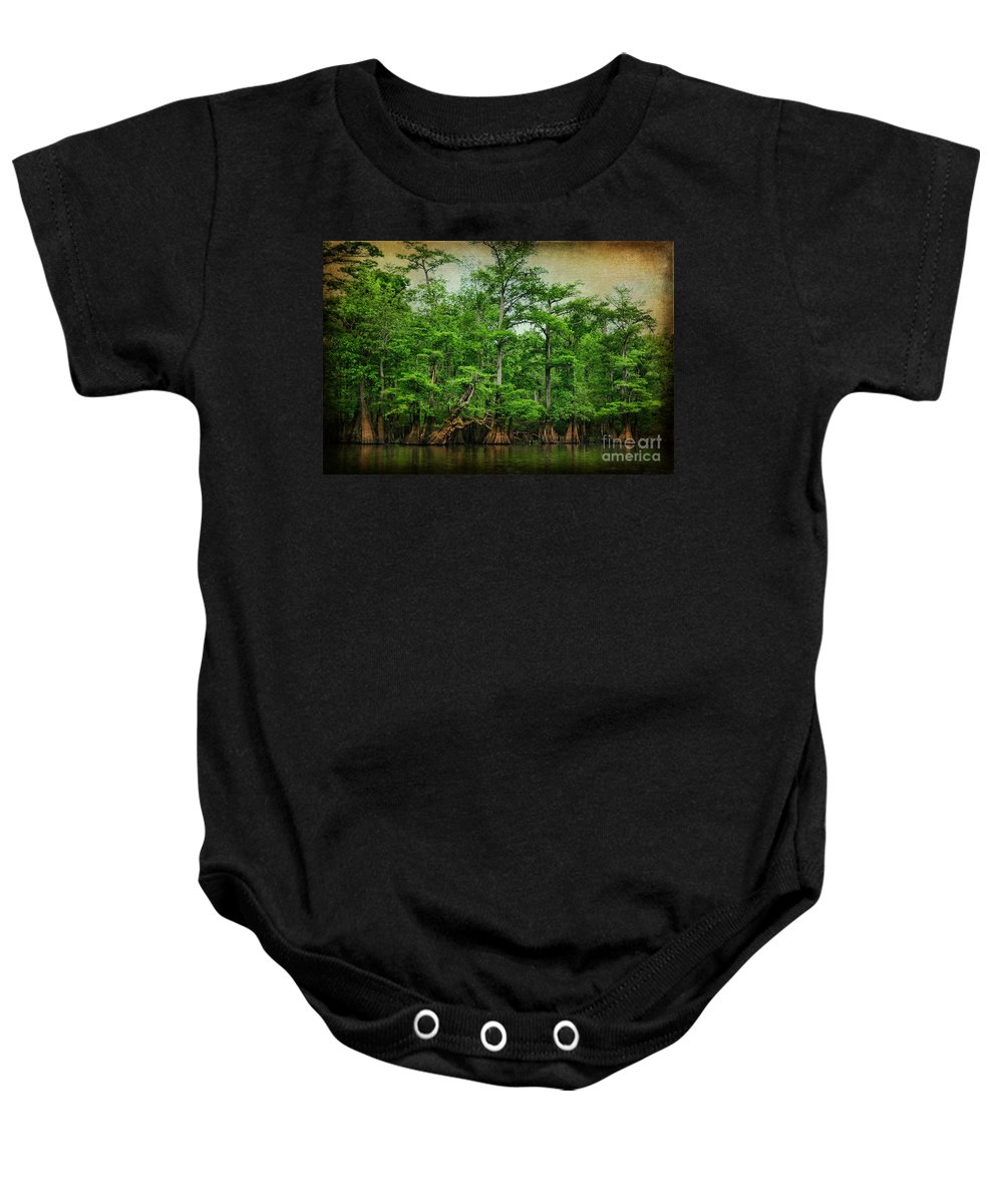 Cypress Baby Onesie featuring the photograph Cypress Trees by Joan McCool