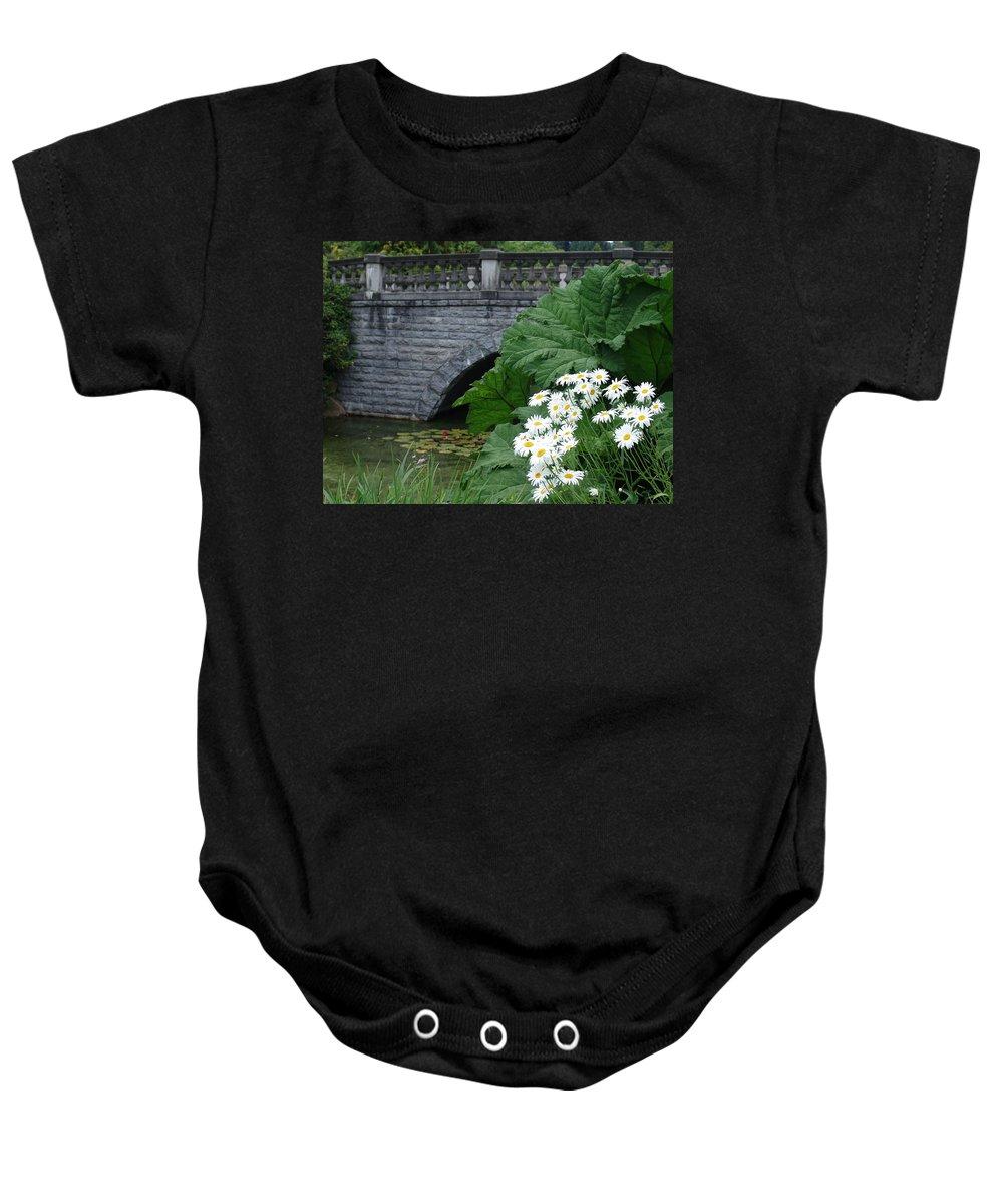 Bridge Baby Onesie featuring the photograph Stone Bridge Daisies by Ian Mcadie