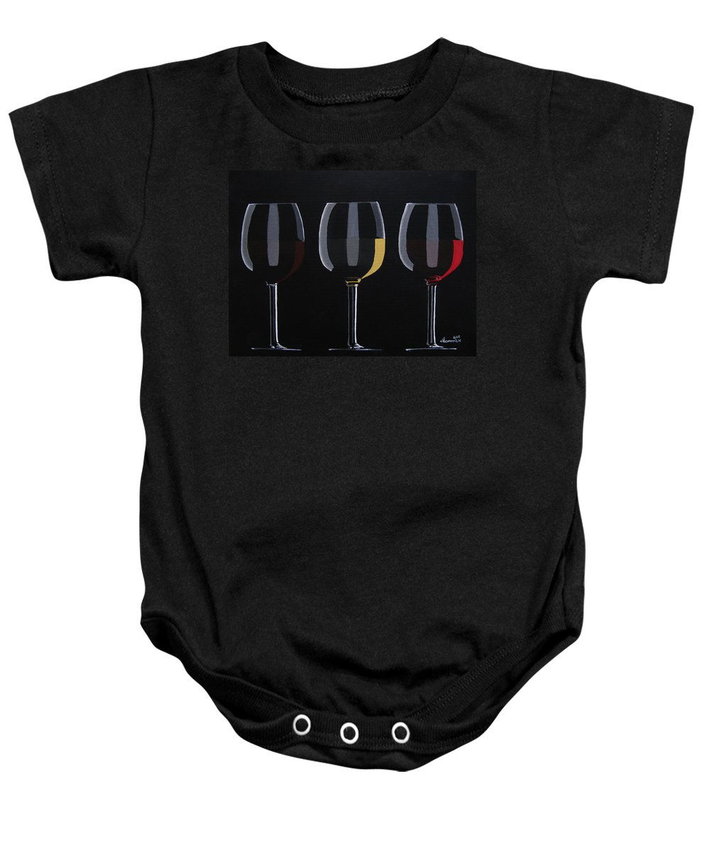 Wine Glasses Baby Onesie featuring the painting Dark Light Medium by Kayleigh Semeniuk
