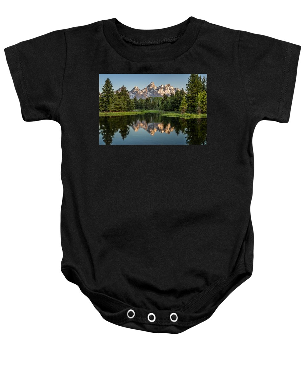 Schwabacher Landing Baby Onesie featuring the photograph Dawn At Schwabacher Landing by Greg Nyquist