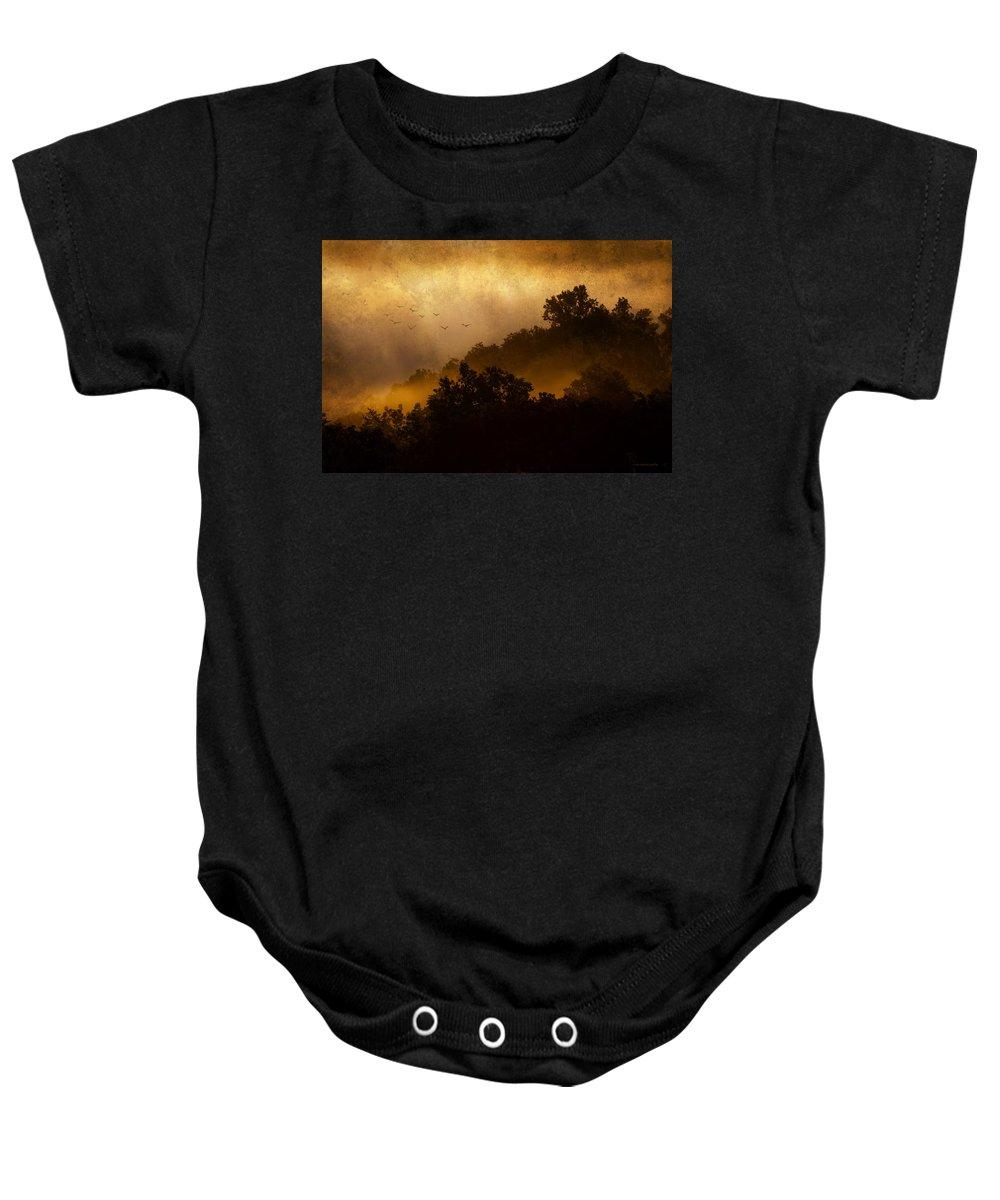 Landscape Baby Onesie featuring the photograph Dawn Flight by Ron Jones