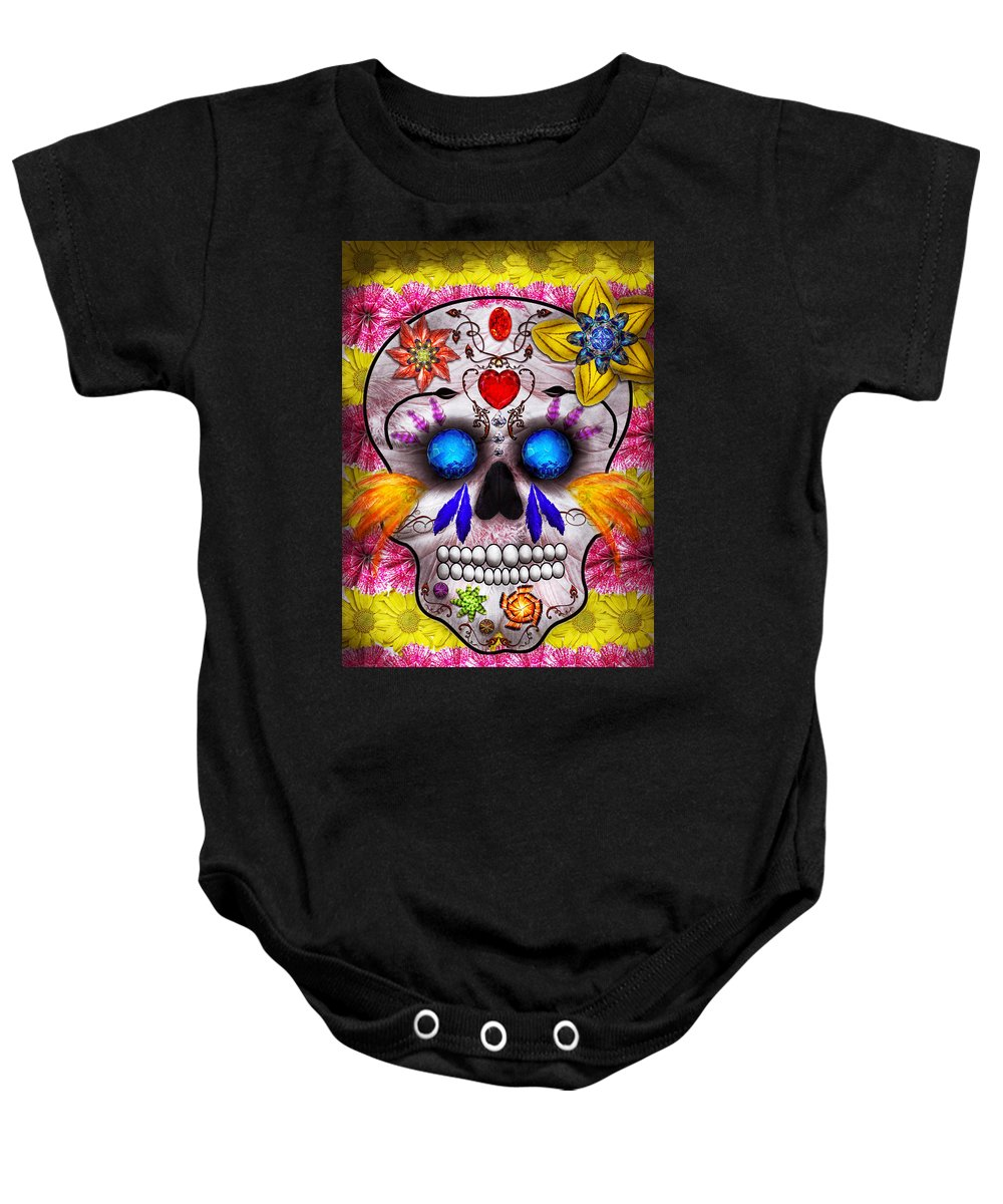 Day Of The Dead Baby Onesie featuring the photograph Day Of The Dead - Death Mask by Mike Savad