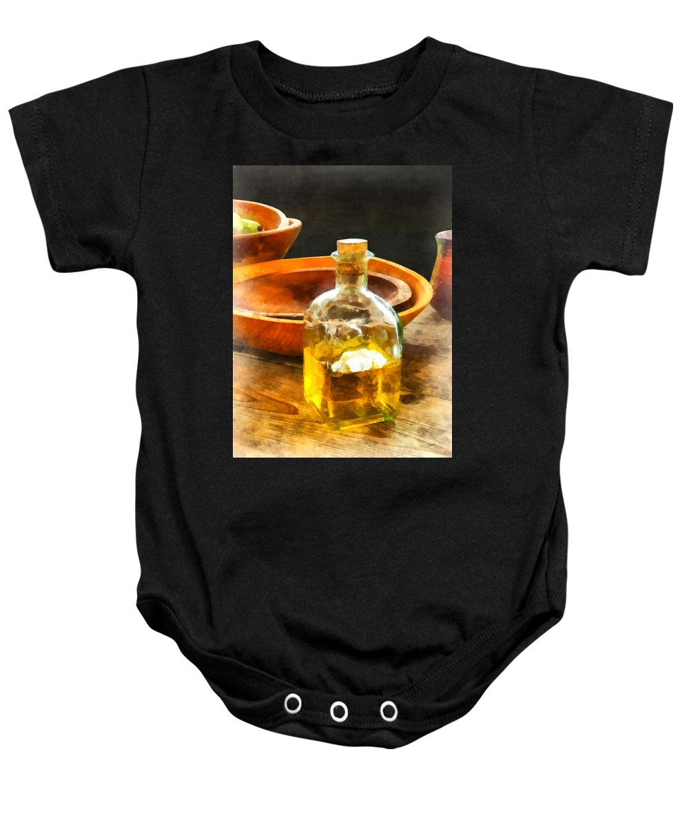 Cook Baby Onesie featuring the photograph Decanter Of Oil by Susan Savad