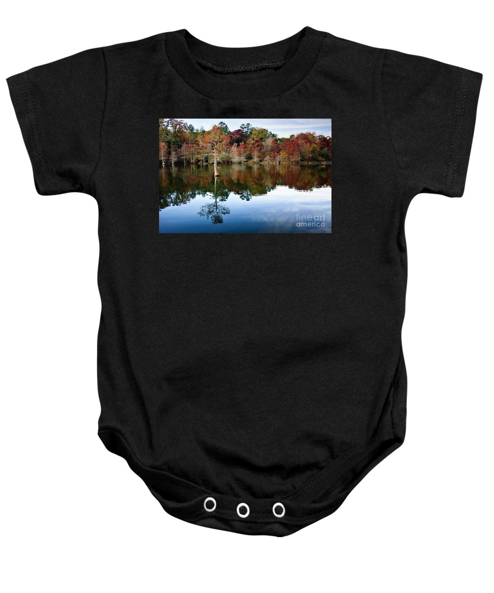 Trees Baby Onesie featuring the photograph Beaver's Bend Defiant Cypress by Tamyra Ayles