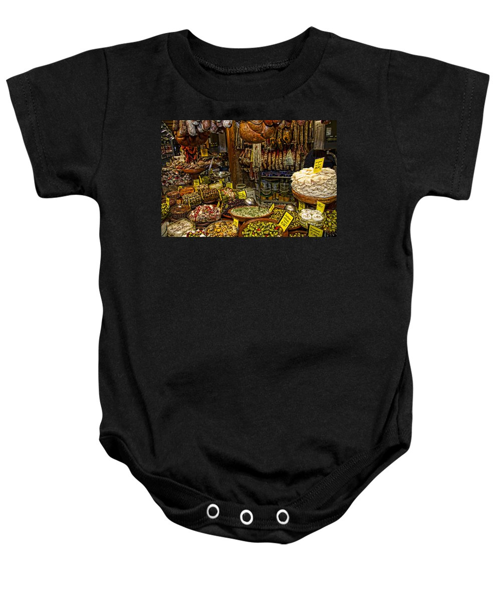 Market Baby Onesie featuring the photograph Deli In Palma De Mallorca Spain by David Smith