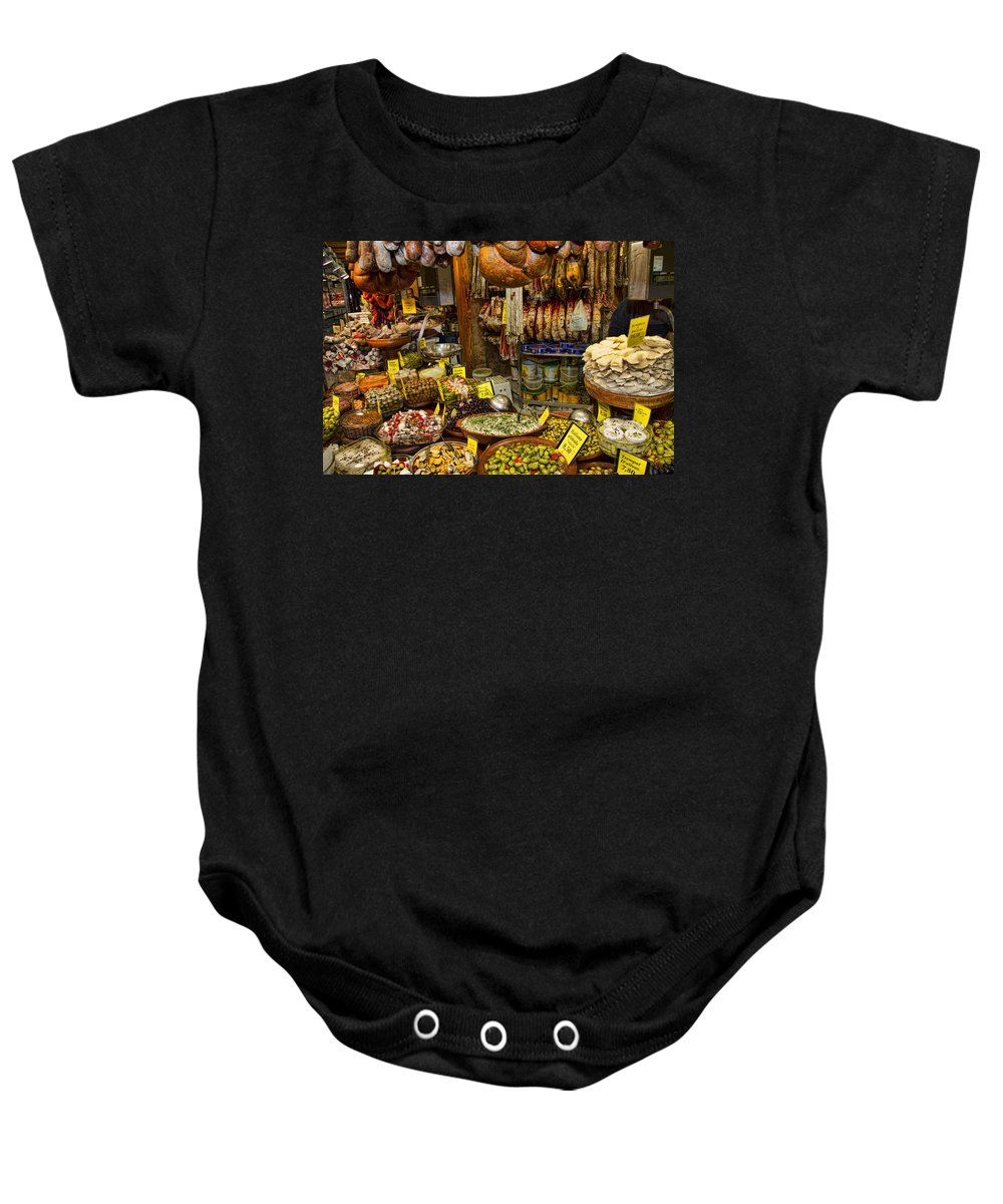 Market Baby Onesie featuring the photograph Deli In The Olivar Market In Palma Mallorca Spain by David Smith