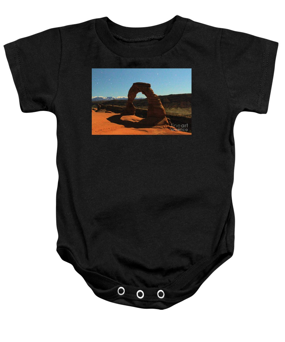 Delicate Arch Baby Onesie featuring the photograph Delicate Arch Under Moonlight by Adam Jewell