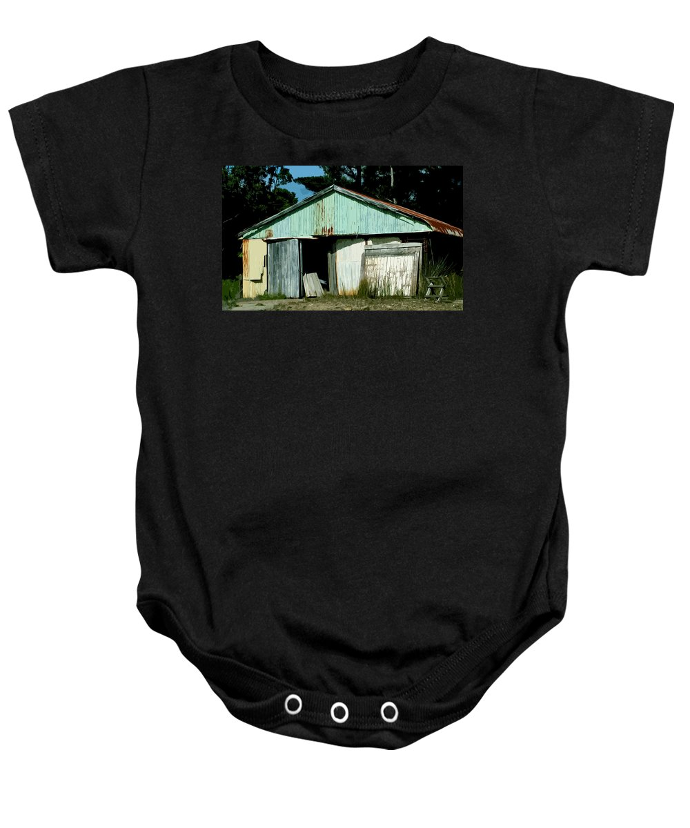 Shed Baby Onesie featuring the digital art Derilict Building by Phill Petrovic