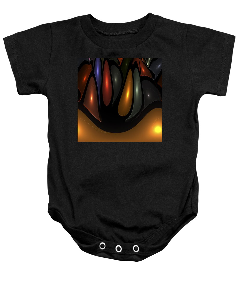 Bubble Bubbles Fractal Fractals Art Modern Color Colorful Light Lights Glowing Baby Onesie featuring the digital art 'desert Bubbles by Steve K