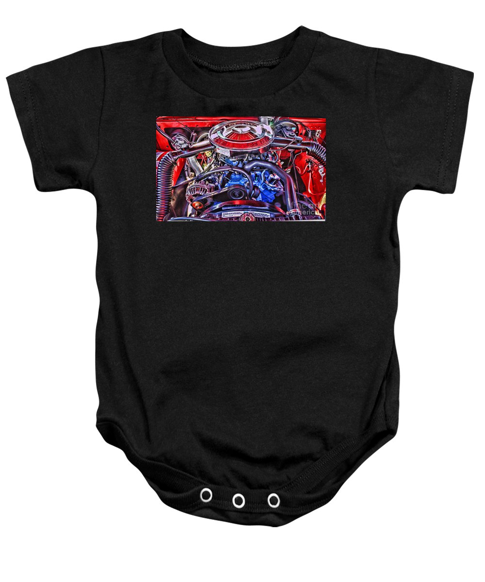 Cars Baby Onesie featuring the photograph Dodge Motor Hdr by Randy Harris