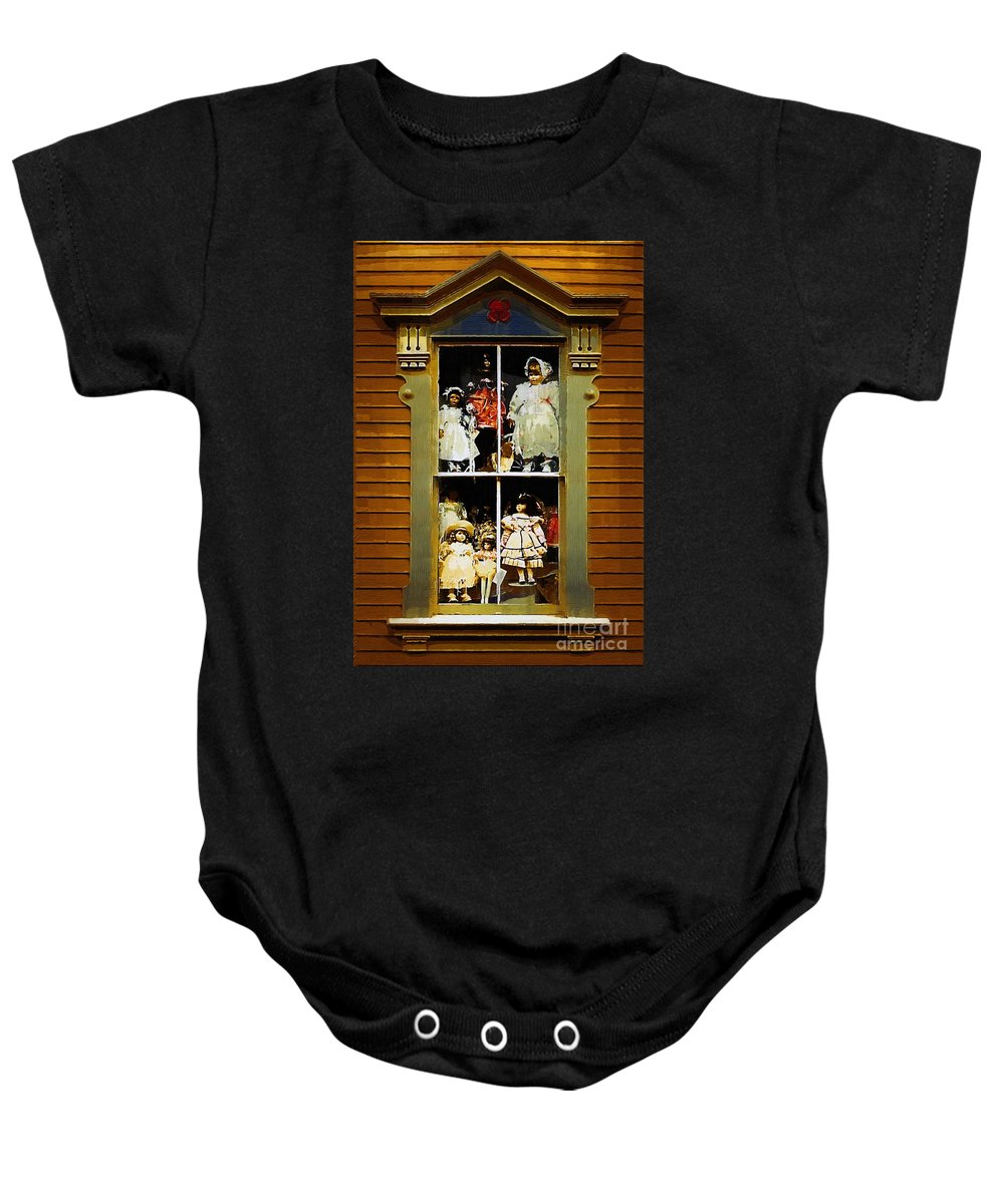 Antiques Baby Onesie featuring the painting Dollhouse Gothic by RC DeWinter