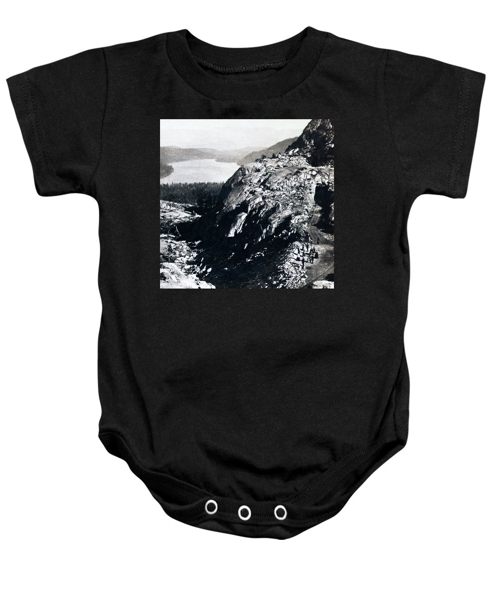 donner Lake Baby Onesie featuring the photograph Donner Lake From Summit - California - C 1865 by International Images