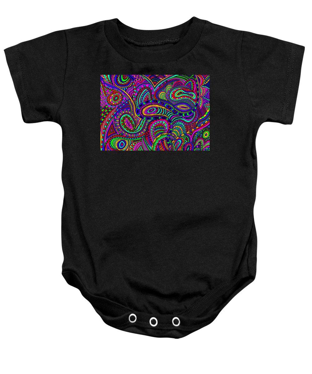 Doodle Art Baby Onesie featuring the mixed media Doodle 1 by Karen Elzinga