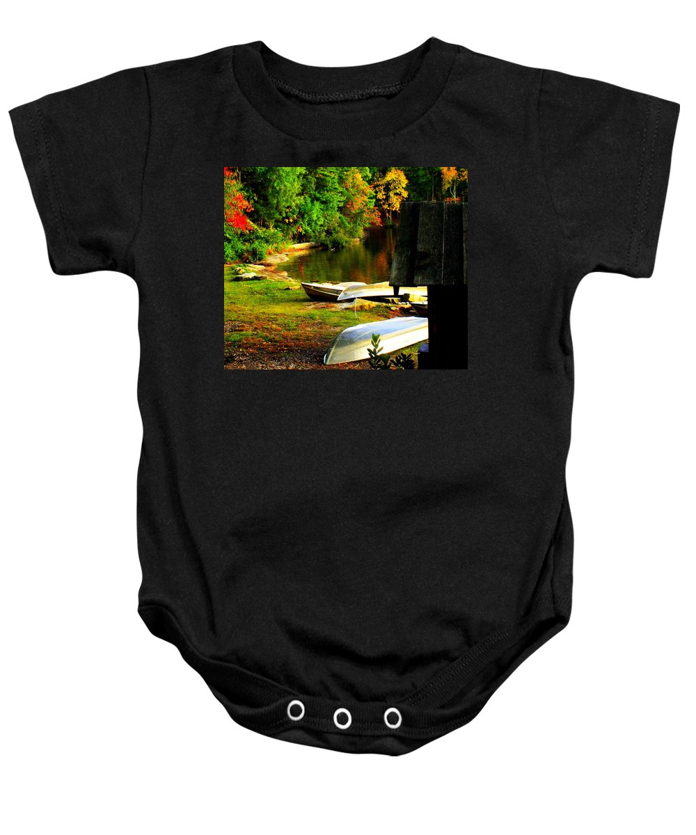Landscapes Baby Onesie featuring the photograph Down By The Riverside by Karen Wiles