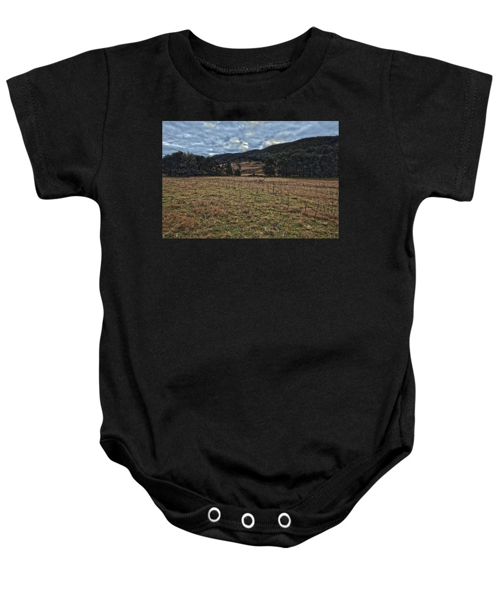 Valley Baby Onesie featuring the photograph Down The Valley by Brendan Maunder