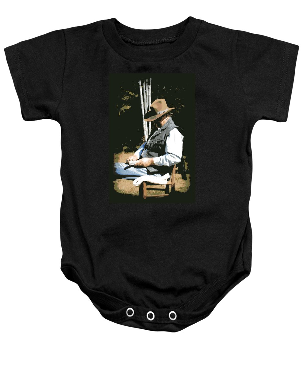 Western Baby Onesie featuring the digital art Down Time by Tina Meador
