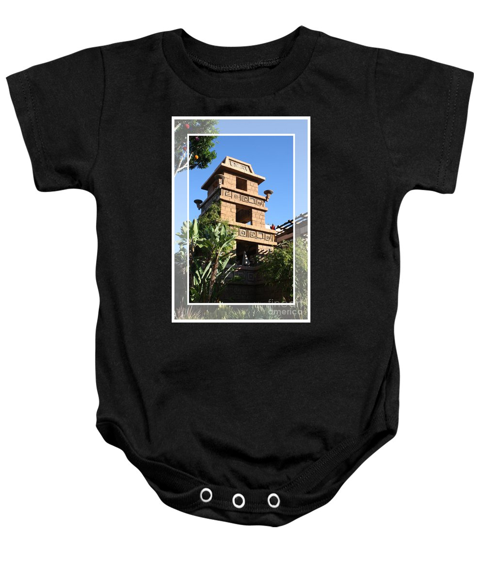 Downtown Disney Baby Onesie featuring the pyrography Downtown Disney by Tommy Anderson