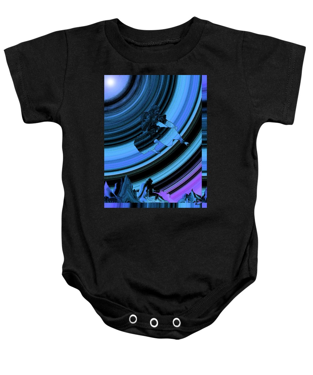 Rainbow Effect Black Belt Hapkido Martial Arts Mountains Abstract Saskatchewan Artist Famous Artist Jump Kick Flying Catching Air Athletic Sport Master Baby Onesie featuring the photograph Dreaming by Andrea Lawrence