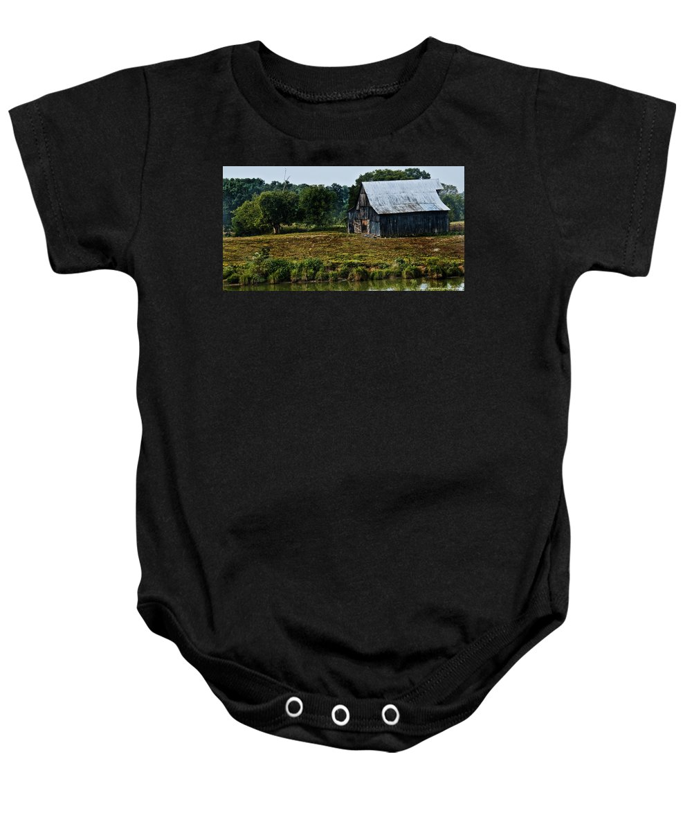 Drying Tobacco Baby Onesie featuring the photograph Drying Tobacco Barn by Sheri Bartoszek