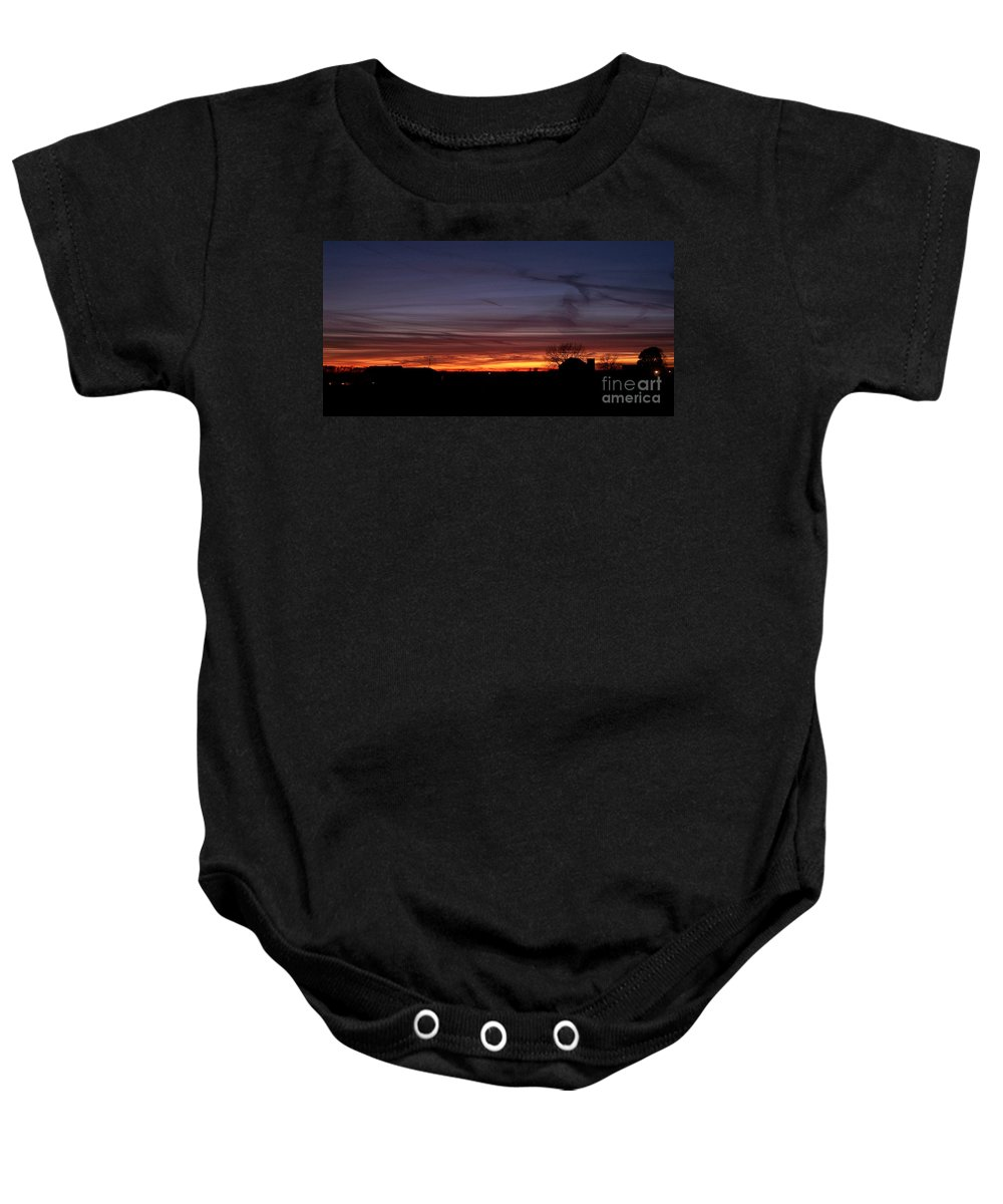 Color Photography Baby Onesie featuring the photograph Dusk by Sue Stefanowicz