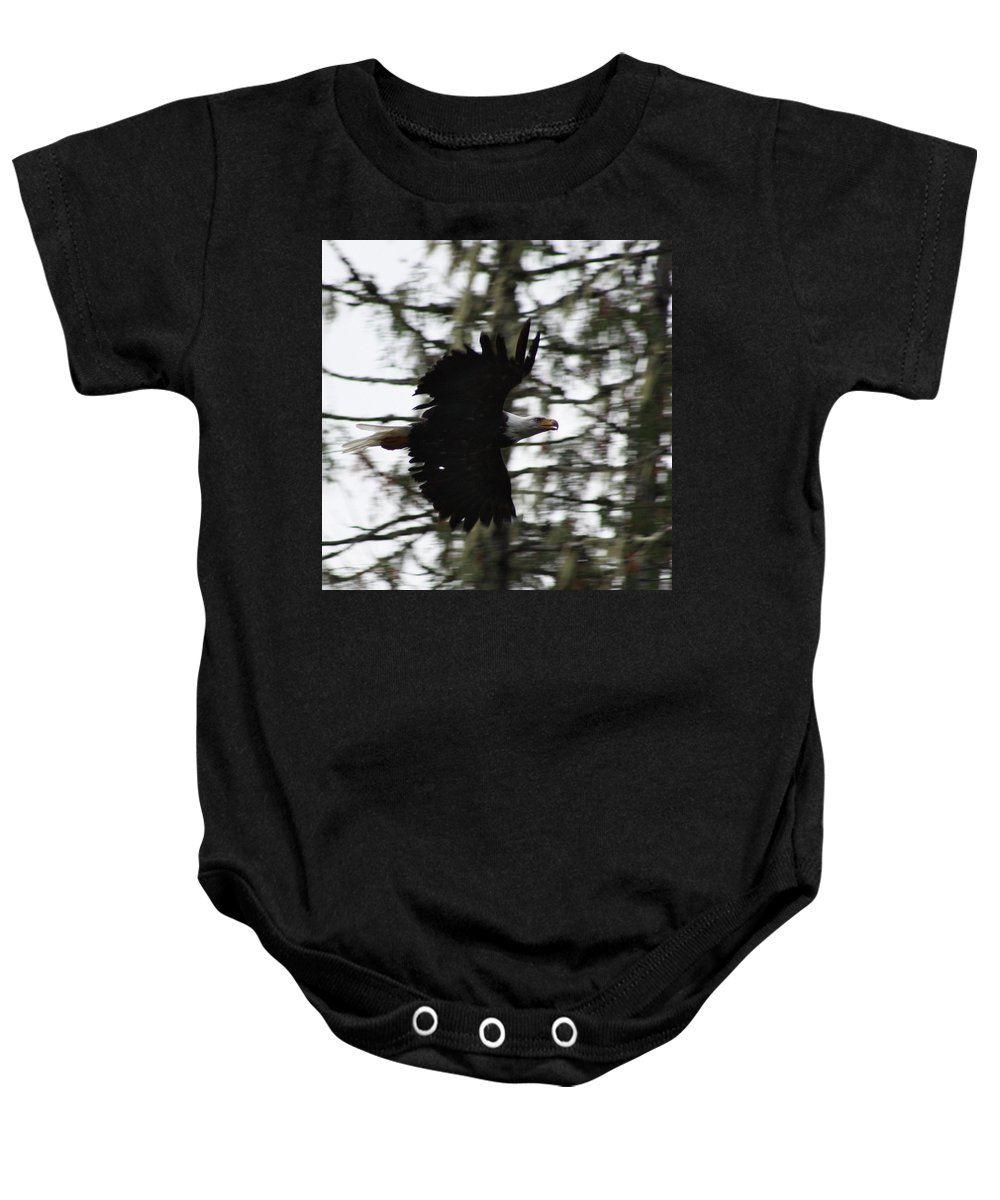 Eagle Baby Onesie featuring the photograph Eagle Fly By by Cathie Douglas