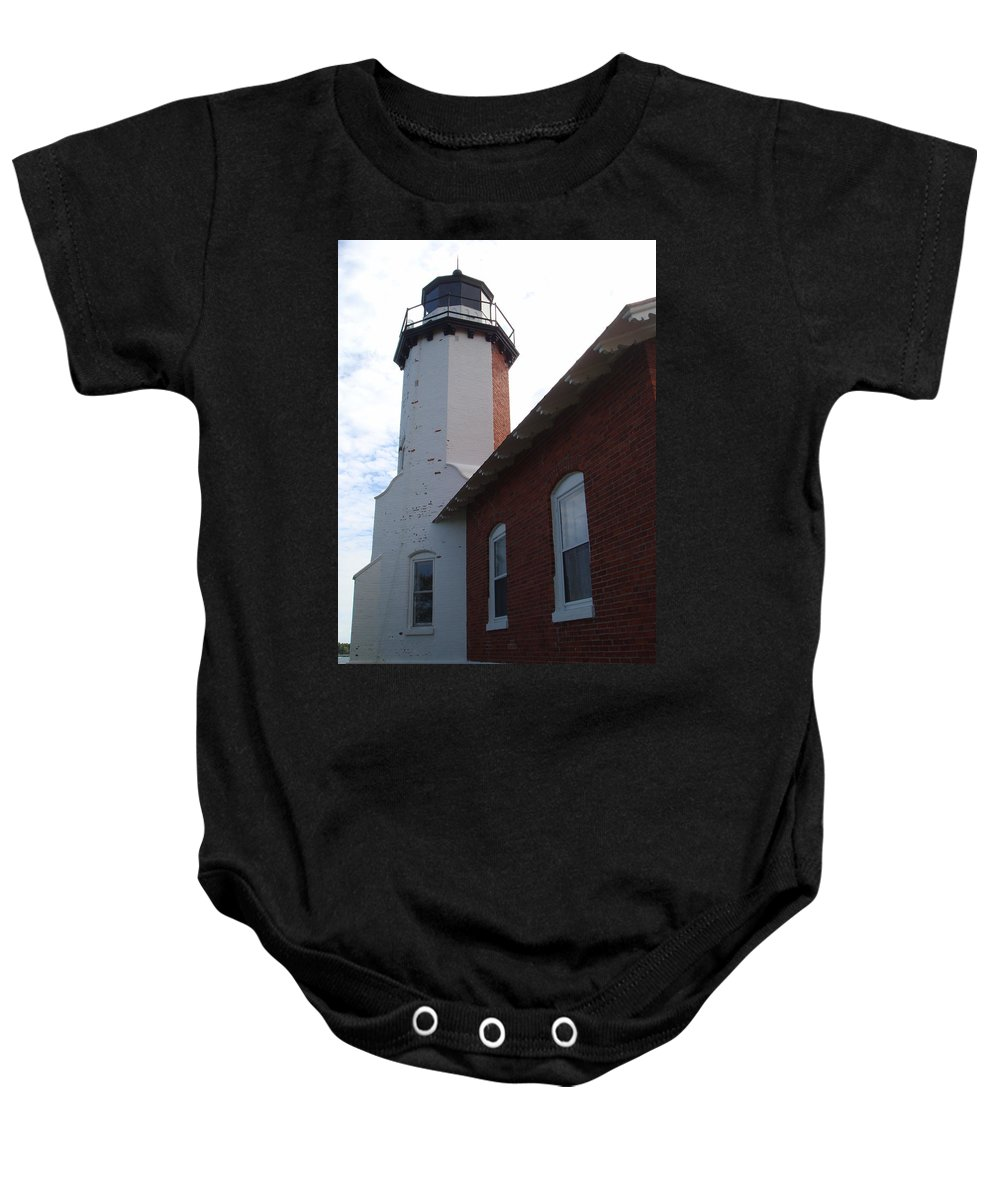 Lighthouse Baby Onesie featuring the photograph Eagle Harbor by Bonfire Photography