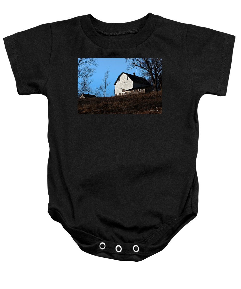 Barn Baby Onesie featuring the photograph Early Morning Barn by Edward Peterson