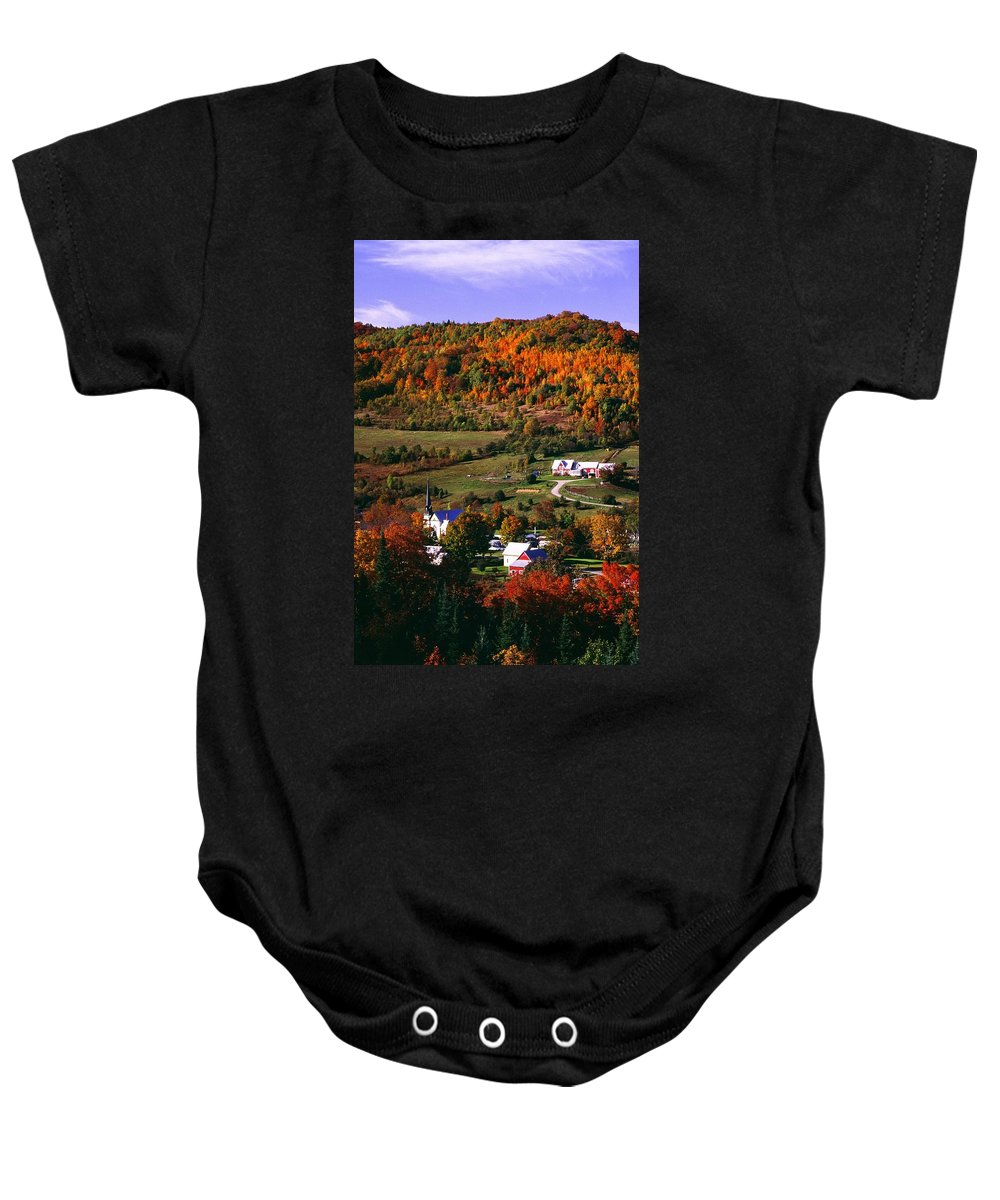 Aerial View Baby Onesie featuring the photograph East Orange Village In Fall, Vermont by Bilderbuch