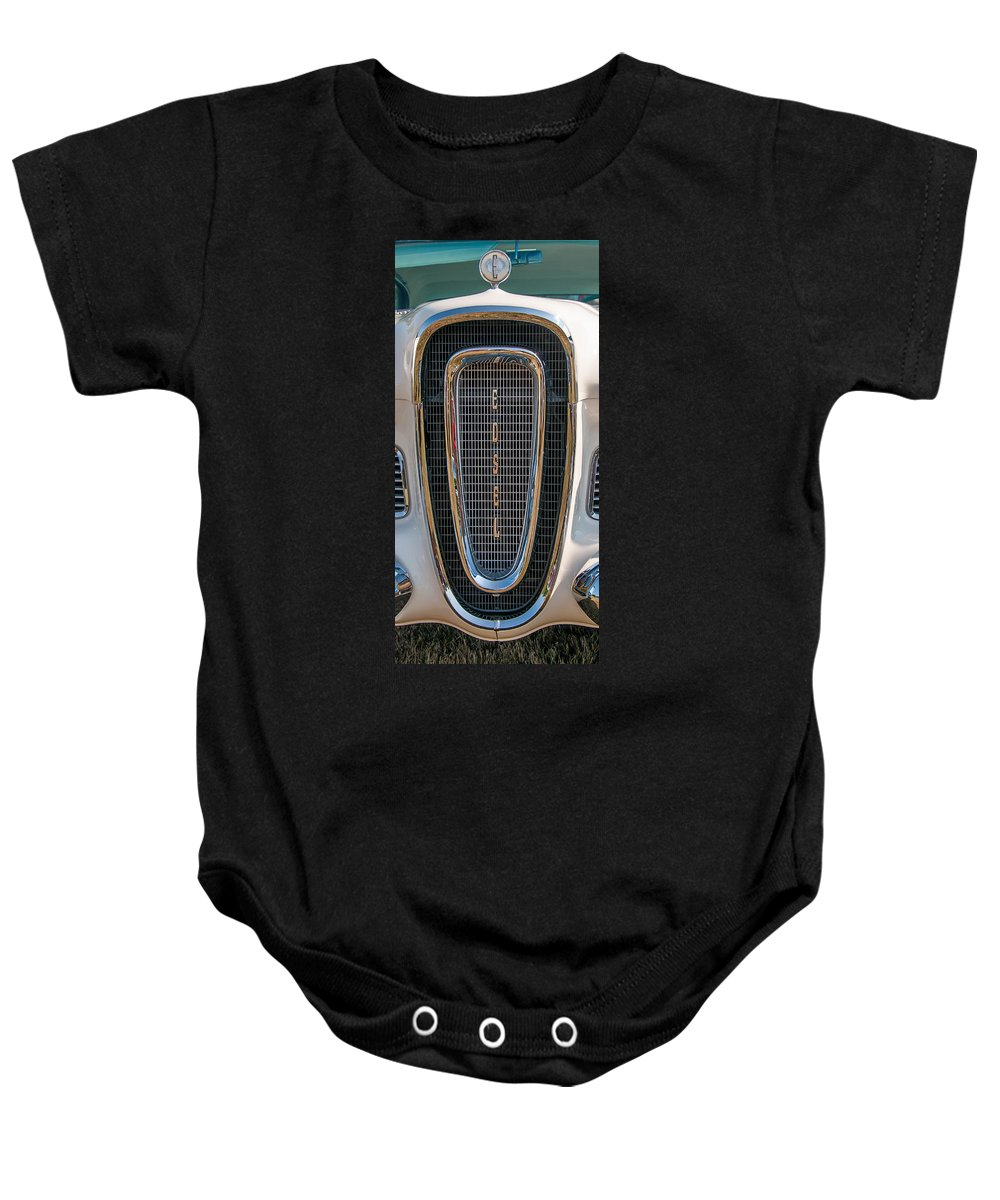 1958 Edsel Baby Onesie featuring the photograph Edsel Grille by Guy Whiteley