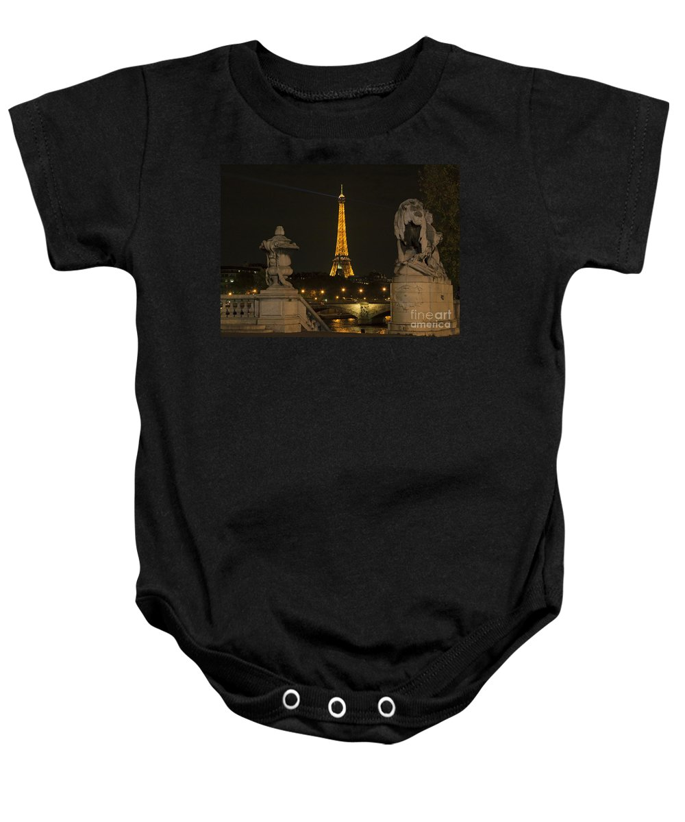 Eiffel Tower Baby Onesie featuring the photograph Eiffel Tower And The Seine River From Pont Alexandre At Night by Louise Heusinkveld