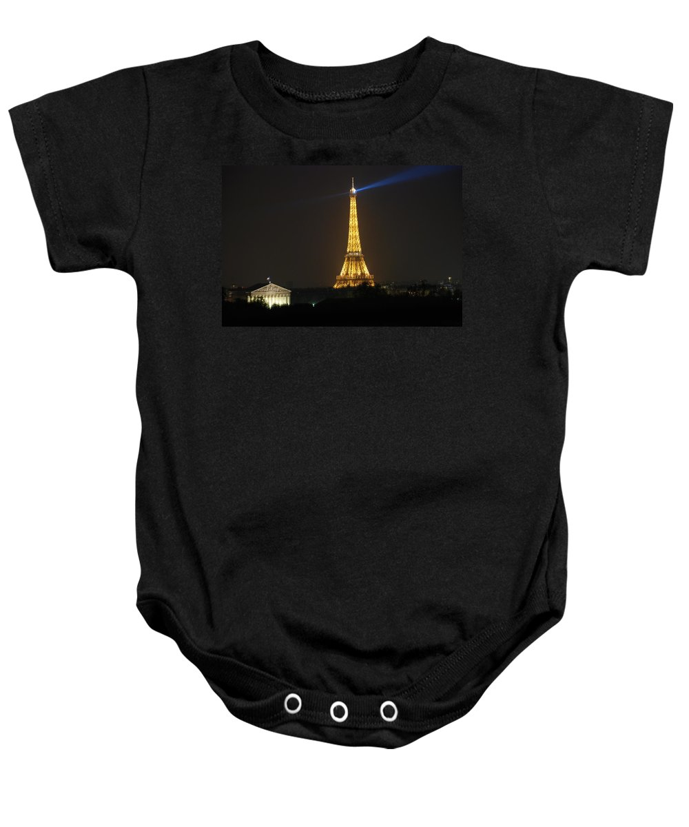 Eiffel Tower Baby Onesie featuring the photograph Eiffel Tower At Night by Jennifer Ancker