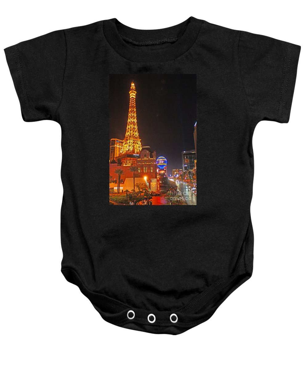 Las Vegas Baby Onesie featuring the photograph Eiffel Tower by Randy Harris