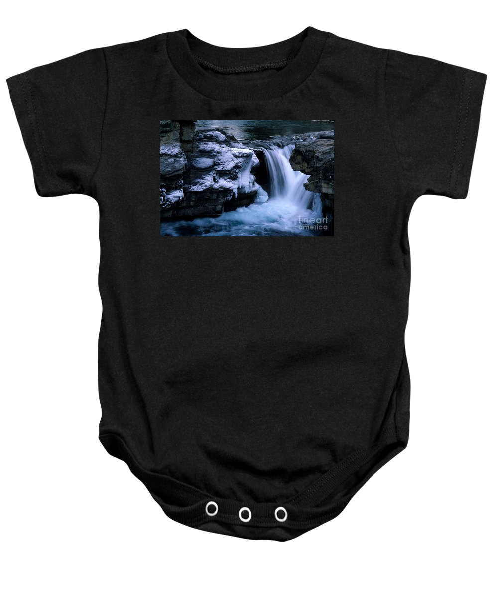 Elbow Falls Baby Onesie featuring the photograph Elbow Falls by Bob Christopher