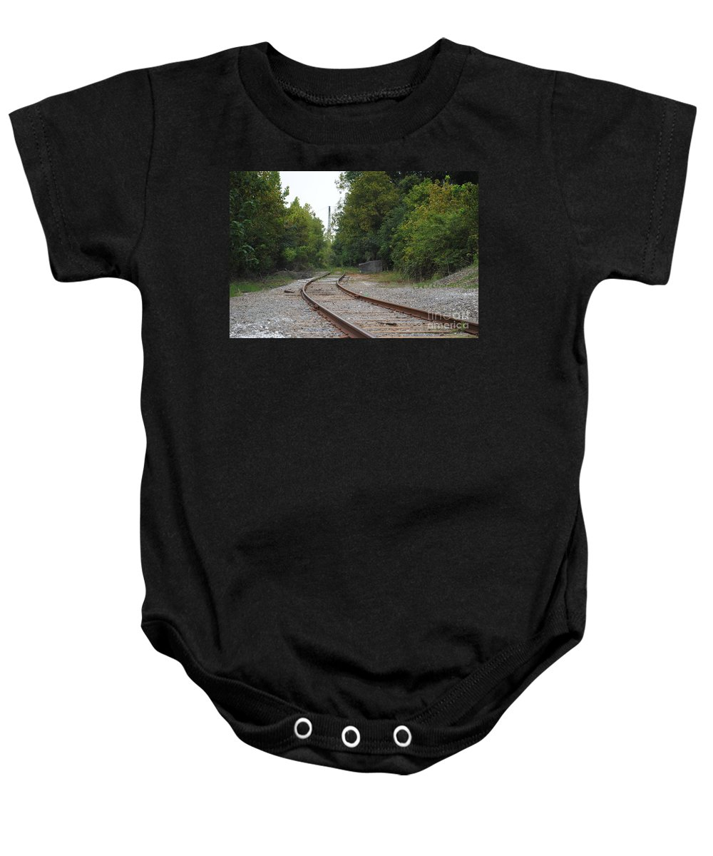 Rail Baby Onesie featuring the photograph End Of The Rail by Jost Houk