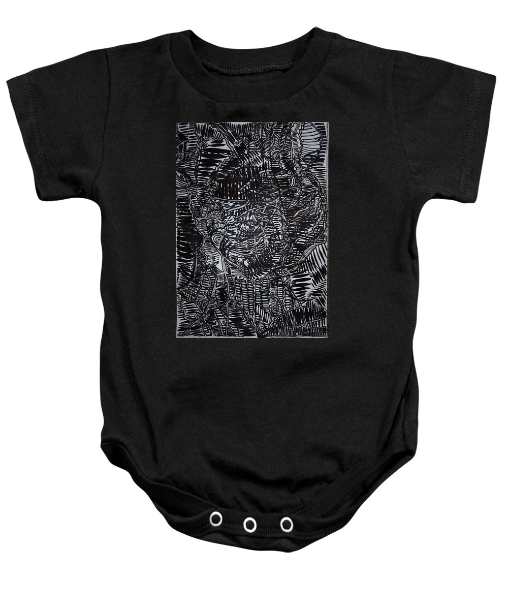 Jesus Baby Onesie featuring the drawing Enkai Of Maasai Tradition by Gloria Ssali