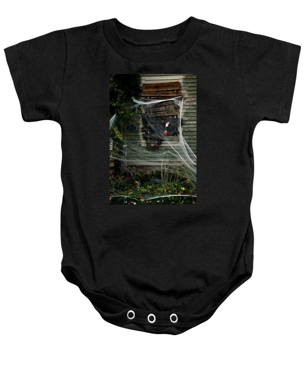 Usa Baby Onesie featuring the photograph Escaping The Web by LeeAnn McLaneGoetz McLaneGoetzStudioLLCcom