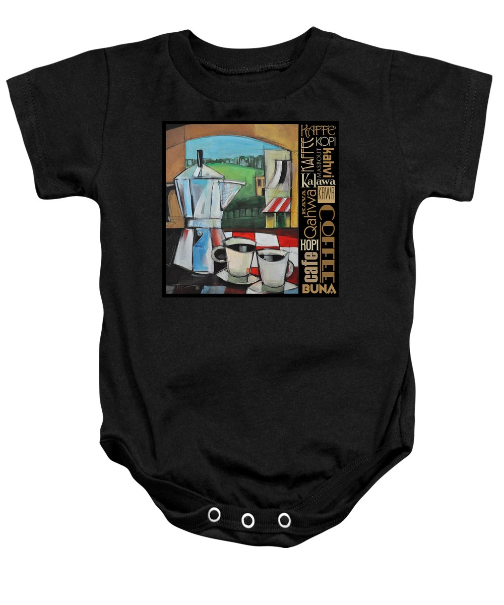 Coffee Baby Onesie featuring the painting Espresso Coffee Languages Poster by Tim Nyberg