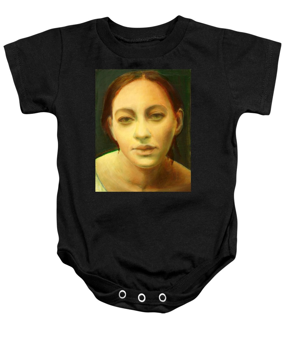 Woman Baby Onesie featuring the painting Face 3 by Lala Aliyeva
