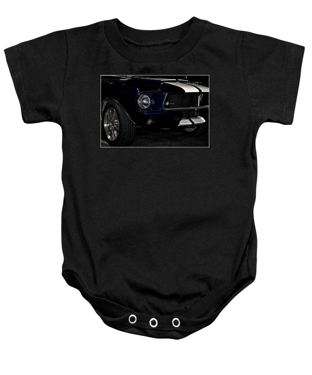 Mustang Baby Onesie featuring the photograph Face Of A Cobra by DigiArt Diaries by Vicky B Fuller