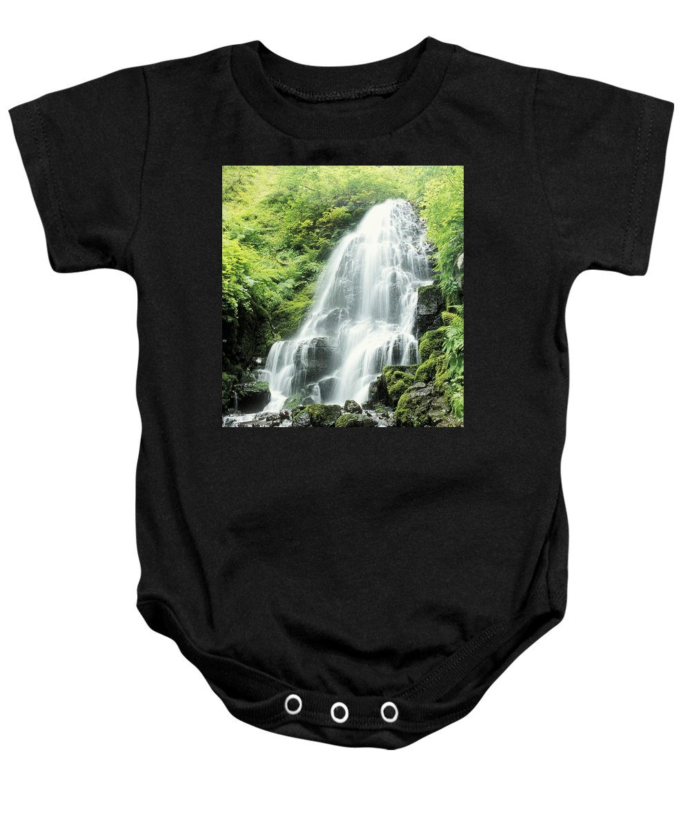 Body Of Water Baby Onesie featuring the photograph Fairy Falls, Columbia River Gorge by Dan Sherwood