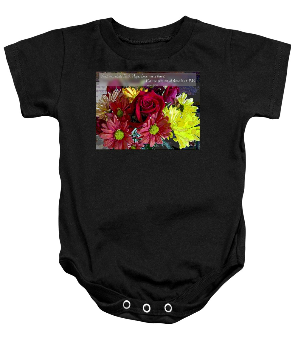 Nature Baby Onesie featuring the photograph Faith Hope Love II by Debbie Portwood