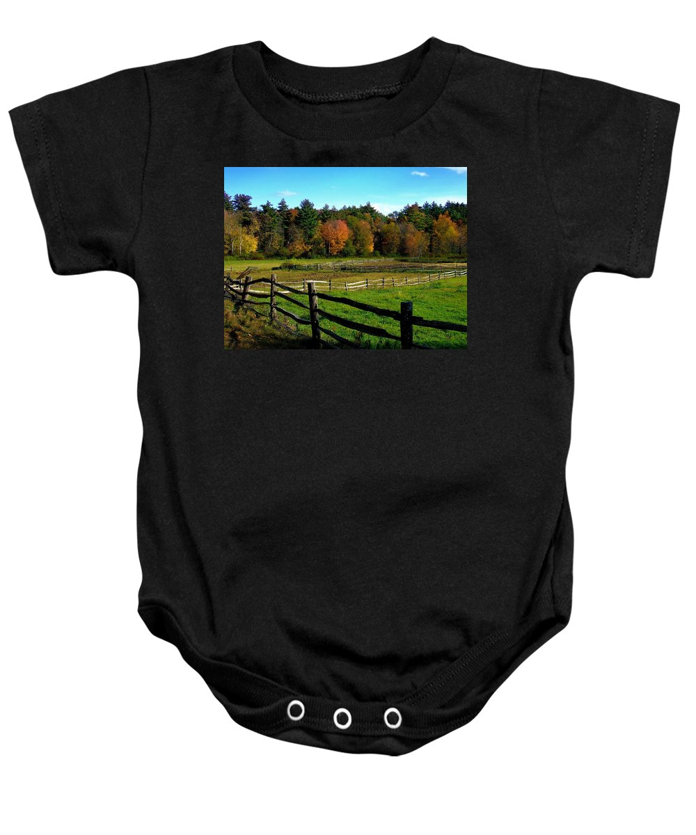 Baby Onesie featuring the photograph Fall Field - Greeting Card by Mark Valentine