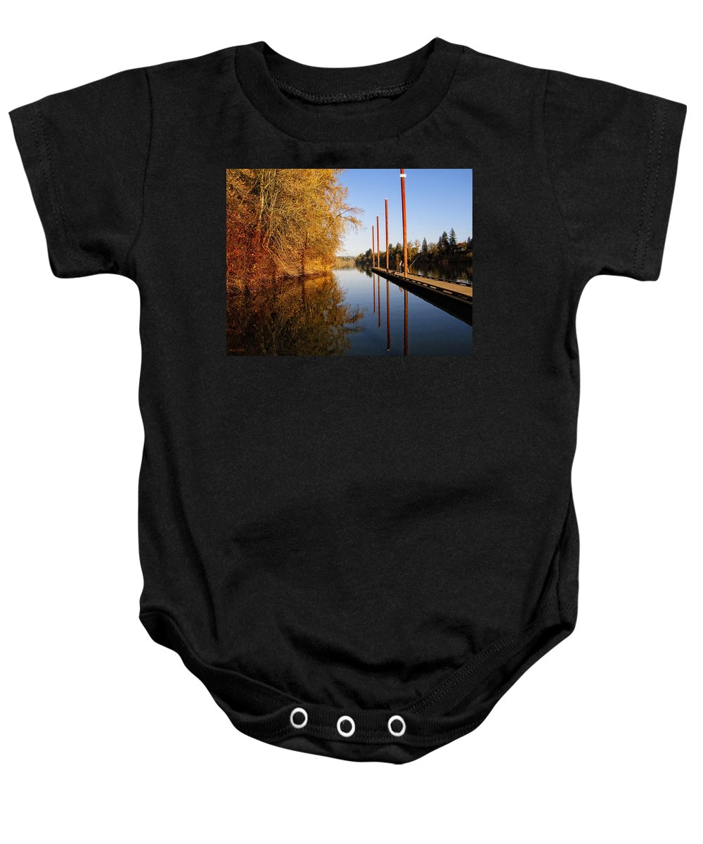 Pier Baby Onesie featuring the photograph Fall Pier by Wendy McKennon