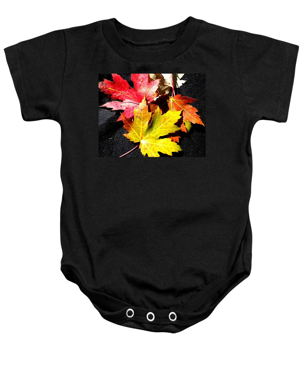 Maple Leaf Baby Onesie featuring the photograph Fallen In The Fall by Renate Nadi Wesley