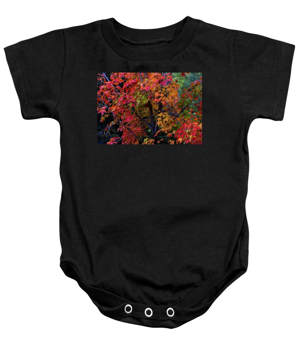 Autumn Baby Onesie featuring the photograph Falls Fiery Rainbow by Jim Robbins