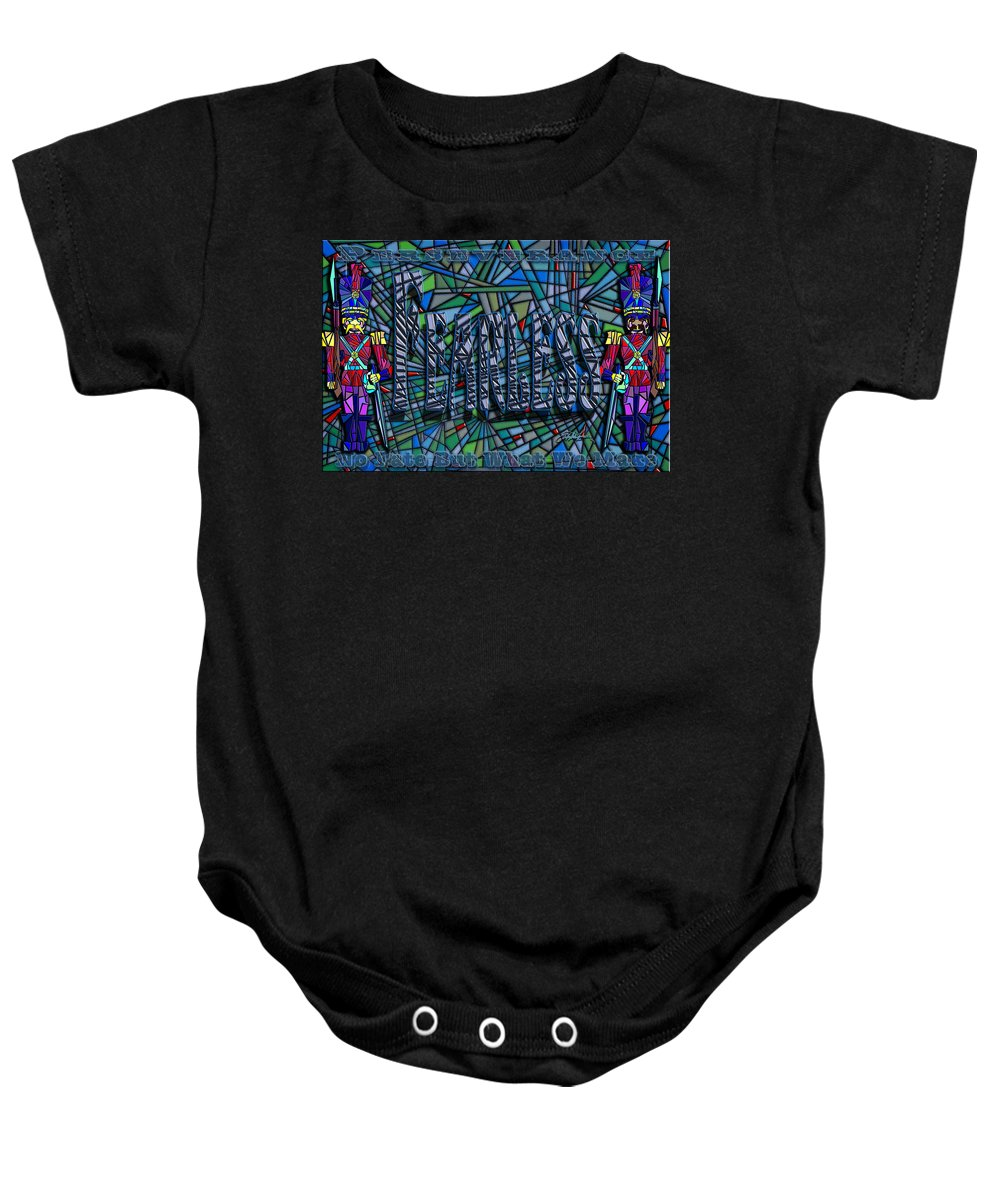 Fearless Guardians Baby Onesie featuring the painting Fearless Nightguard by Douglas Christian Larsen