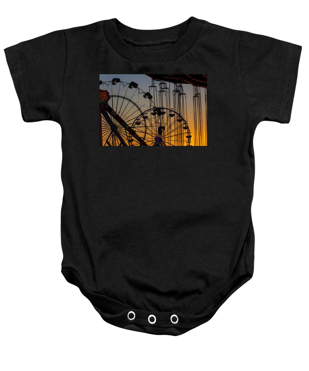 Ferris Wheels Baby Onesie featuring the photograph Ferris Wheels by Garry Gay